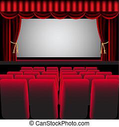 cinema, corredor, com, cortina vermelha, e, cadeira fácil