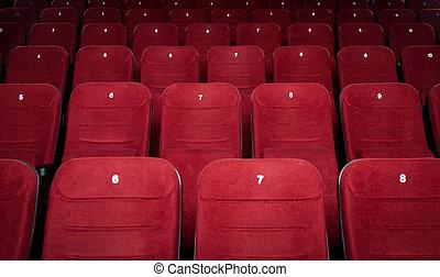 cinema, corredor, vazio, assentos