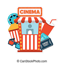 cinema design - cinema design over white background vector...