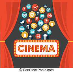 cinema design over gray background vector illustration