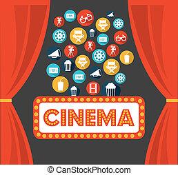cinema design over gray background vector illustration