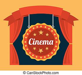 cinema design over orange background vector illustration