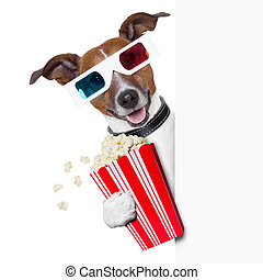 cinema dog - 3d glasses dog with popcorn beside a white...