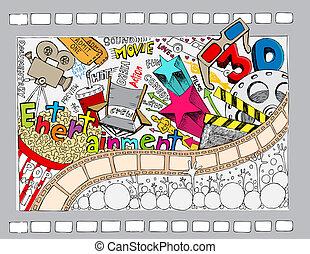 cinema, doodle