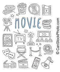 Cinema doodles set of hand drawn  vector