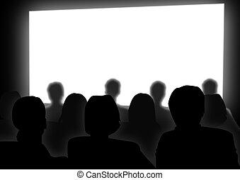 Cinema - Stock image of people watching movie on cinema