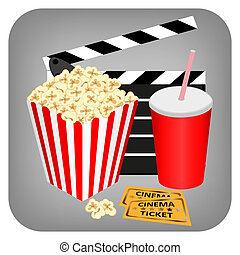 Cinema - drink, popcorn and tickets, vector illustration