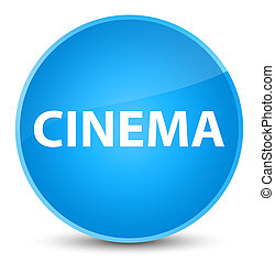 Cinema elegant cyan blue round button