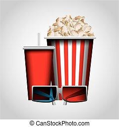 cinema entertainment design - pop corn, soft drink and 3d...
