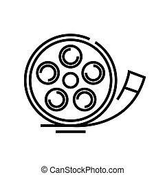 cinema, esboço, linha, vetorial, sinal, ilustração, linear, símbolo., conceito, ícone, histiry
