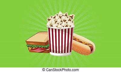 Cinema food combo with pop corn High definition animation colorful scenes