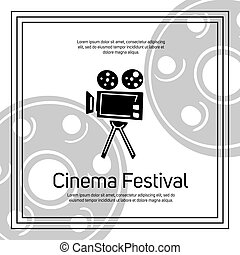 Cinema festival banner template with text space. Retro movie camera vector illustration in doodle style.