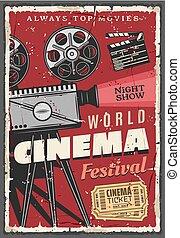 Cinema festival retro poster, vintage camcorder