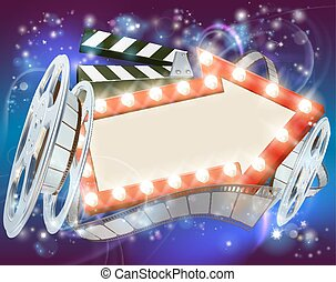 Cinema Film Arrow Sign Abstract Background