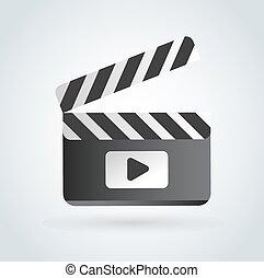 Cinema film clapper board illustration icons set