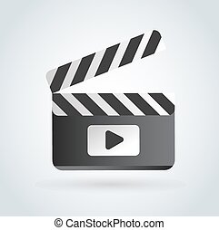 Cinema film clapper board illustration icons set - Cinema...