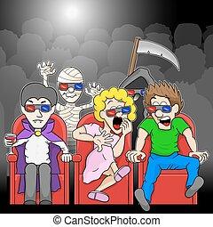 cinema, film, coppia, osservare, orrore, 3d
