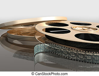 Illustration of a cinema film reel next to its canister