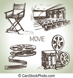 cinema, filme, set., mão, vindima, ilustrações, desenhado