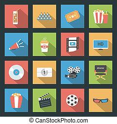 Cinema flat icons set - Cinema icons set flat design vector...
