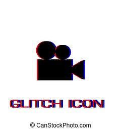 cinema, flat., retro, ícone