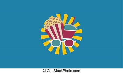 cinema food shop popcorn soda and 3d glasses animation hd