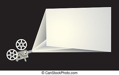 Cinema frame with projector and white screen