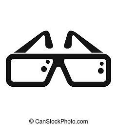 Cinema glasses icon, simple style