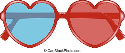 Cinema glasses in shape of heart for watching three-...