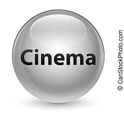 Cinema glassy white round button