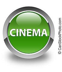 Cinema glossy soft green round button