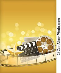 cinema golden background with retro filmstrip, clapper and star