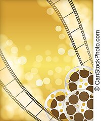 cinema golden background with retro filmstrip, film reel. vintage movie abstract background. vector