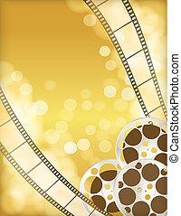 cinema golden background with retro filmstrip, film reel. vintage movie abstract background. vector