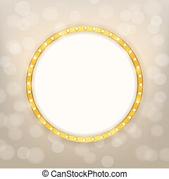 cinema golden round frame with shining light bulbs on blurry...