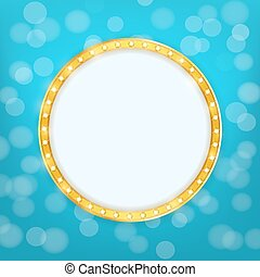 cinema golden round frame with shining light bulbs on blurry background. vector illustration