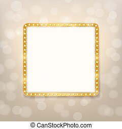 cinema golden square frame with shining light bulbs on blurry background. vector illustration