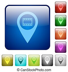 Cinema GPS map location color square buttons