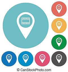 Cinema GPS map location flat round icons