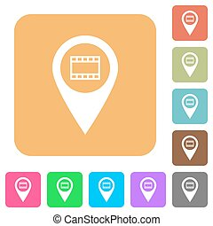 Cinema GPS map location rounded square flat icons