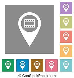 Cinema GPS map location square flat icons