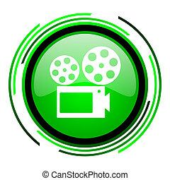 cinema green circle glossy icon