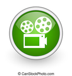 cinema green circle glossy web icon on white background