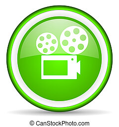 cinema green glossy icon on white background