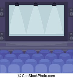 Cinema hall with huge screen, rows of comfortable soft seats and powerful projectors on ceiling cartoon flat vector illustration. Public place to watch movies interior design in deep purple colors.