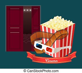 Cinema Hall with Popcorn in Package and Glasses - Glasses ...