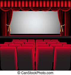 cinema hall with red curtain and easy chair - illustration...