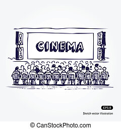 Cinema - Hand drawn illustration of cinema isolated on white...