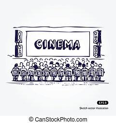 Cinema - Hand drawn illustration of cinema isolated on white...