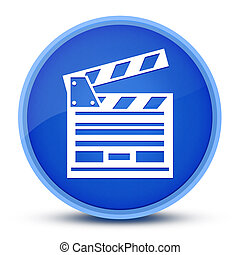Cinema icon isolated on special blue round button abstract